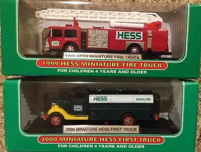 2 Piece - MINT 1999 Miniature Hess Fire Truck & MINT 2000 Mini Hess First Truck