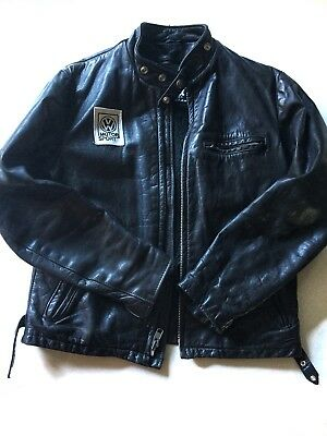 Vintage Lined SCHOTT Black Leather Cafe Racer Motorcycle Jacket Size 40 Perfecto