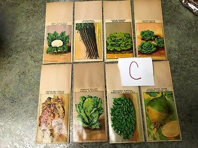Lot C Antique French France Vegetable Seed Sack Packets Vintage Old Store Stock