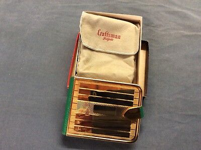 Vintage Craftsman Billfold Bifold Hard Cover Gold Tone & Green  Vinyl Wallet.