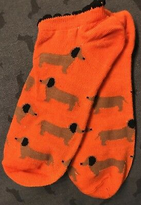 Women's Dachshund Ankle Socks Doxie Orange Wiener Dog Halloween NWT