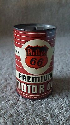 Vintage Phillips 66 Motor Oil Can Bank Metal Tin Premium Collector  Advertising