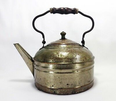 Rustic Early 20Th C Antique Primitive Pressed Tin Lg Kettle W/Wood & Wire Handle