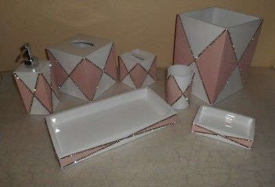 7pc Mike & Ally Bathroom Accessory Set Pink White Jewel Crystal Rhinestone
