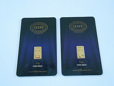 Gold Lot Of Two 1/2 Gram New 24K Pure Gold Bars Invest