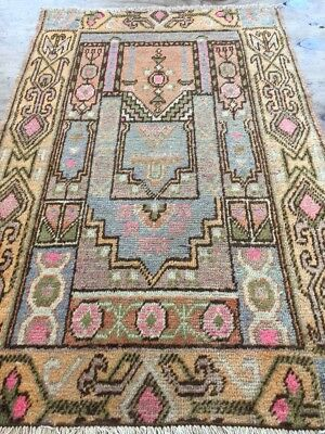 Antique Used Handmade Khotan Prayer Rug,Size:101cm By 61cm
