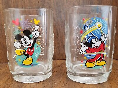 McDonald's Disney Magic Kingdom Millennium Square Mickey Mouse Glasses Set of 2