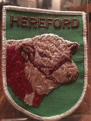 """Hereford Bull Cattle Ranch Cow Cowboy 4"""" x 3"""" Embroidered Patch"""