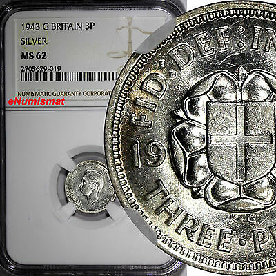Great Britain George VI Silver 1943 3 Pence NGC MS62 KM# 848
