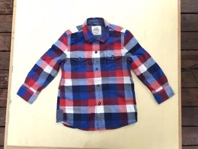 MINI BODEN Red Blue White Plaid Flannel Shirt Size 5 - 6 5Y 6Y Lumberjack