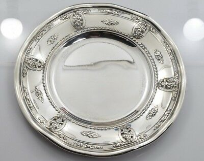 Wallace Rose Point Bread Plate Ruffled Edge Sterling Silver 4600-9 - 143.0 grams