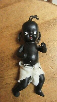 Vintage African American Black Americana Bisque Jointed Baby Doll Japan 4 1/2""