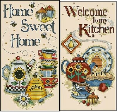 Home Sweet Home & Welcome to My Kitchen - Cross Stitch Chart - Digital Format
