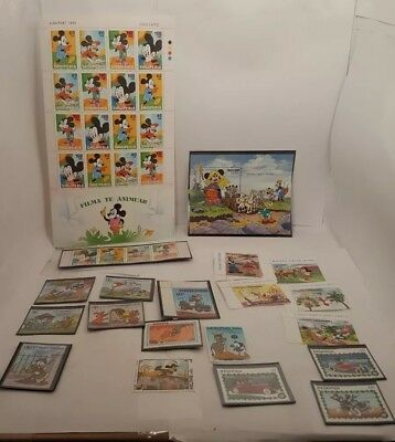 WALT DISNEY Foreign CARTOON STAMPS Collection packet  Different Stamps Lot