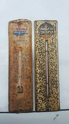Lot Of 2 Metal Standard Oil Company Thermometer Amoco American Gas Station Sign