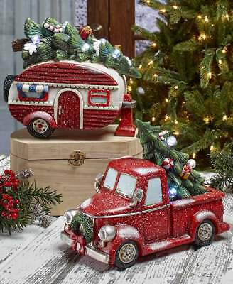 Vintage Lighted Christmas Holiday Accents Gift Red Pick Up Truck or Retro Camper