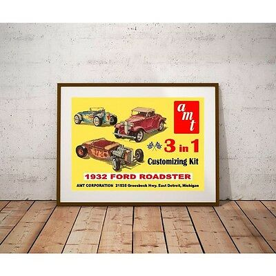 AMT 1932 Ford Roadster Poster - Early 1960's 3 in 1 Customizing Kit Artwork