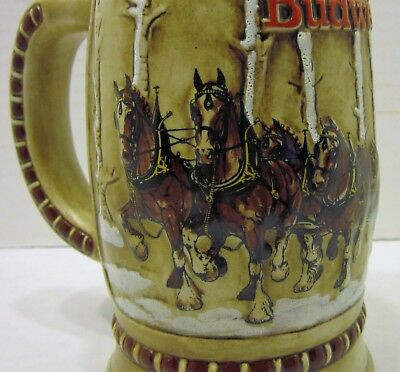 1981 Budweiser Clydesdale Horse Beer Stein CS-50 Christmas 2nd Holiday Bar Mug