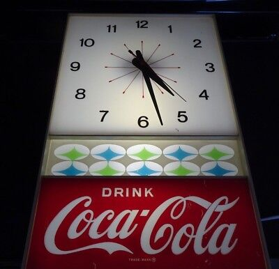 Vintage 1960 Coca Cola COKE Clock Lighted - NPI Neon Products Inc.
