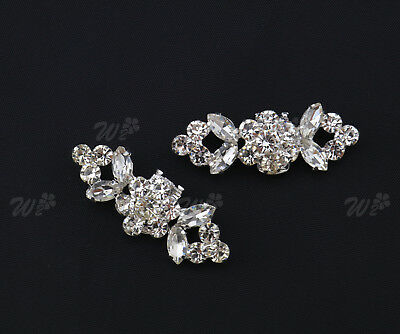 Pair of  Silver Crystal Rhinestone Shoe Clips Tone Boots Buckle Craft Decoration