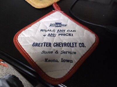 Gretter Chevrolet Co. Keota,Iowa Vintage Chevrolet Hot Pad Advertising Promo