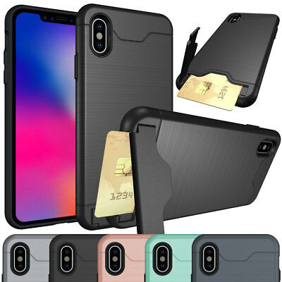 For Apple iPhone XR XS Max Slim Case with Brushed Credit Card Holder Stand Cover