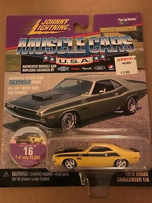 JOHNNY LIGHTNING Dodge Challenger T/A 1970 Yellow Diecast Muscle Car 1:64 #16