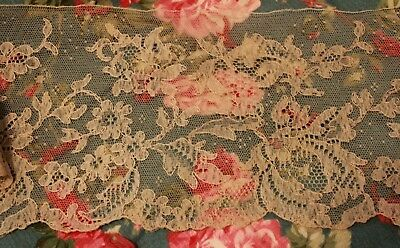 Antique Wide Ecru Chantilly Lace Trim Point D'esprit 3 Yards