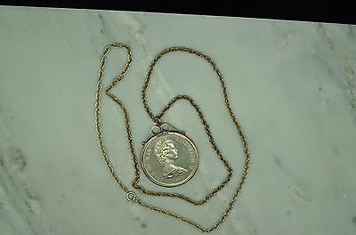1972 Isle Of Man 25 Pence Wedding Anniversary W/ Silver Bezel & Chain Necklace