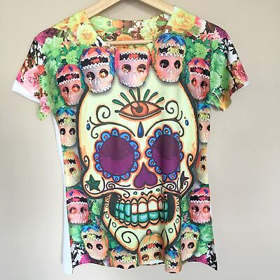 Colorful Sugar Skull Halloween Graphic Tee Mexican T-Shirt New Size M, L, XL