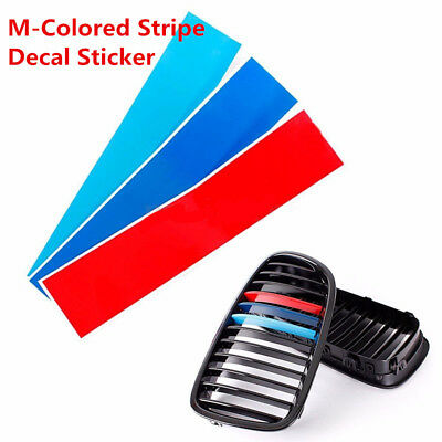 """10"""" M-Colored Kidney Grill Stripe Decal Sticker Decoration For BMW M3 M5 M6 E46"""