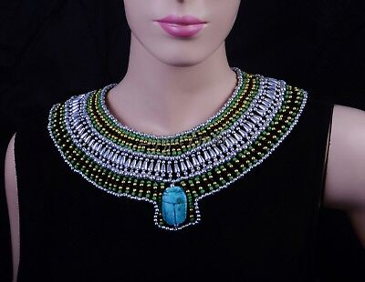 Shiny Egyptian Silver And Black Beaded LRG Scarab Cleopatra Necklace Collar SALE