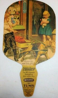 Vintage Tums Cardboard Advertising Fan c.1940s