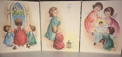 Unused, Beautiful Lot Of 3 Vintage Angels Christmas Cards With Silver Accents #2