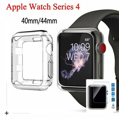 For Apple Watch Series 4 TPU Clear Case Cover+Screen Protector iWatch 40/44mm