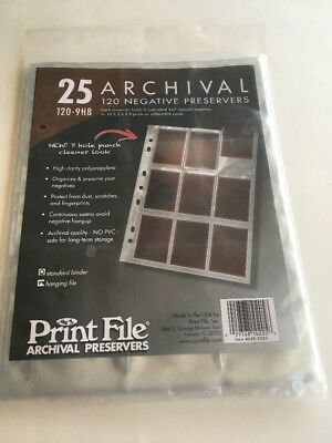 New Print File 120-9HB 120 Size Negative Pages (Package of 25)