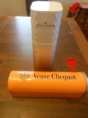 VEUVE CLICQUOT & MOET CHANDON CHAMPAGNE EMPTY COLLECTORS CARRIER TIN ~Oakleigh