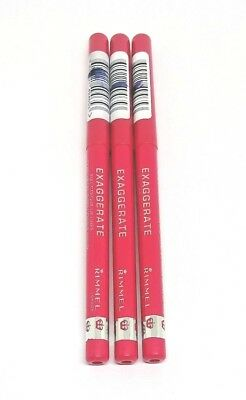 3X Rimmel London Exaggerate Full Colour Lip Liner 103 Pink A Punch New Full Size
