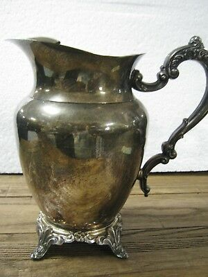 Vintage Oneida Silverplate Ice Tea Water Pitcher with Ice Guard Ornate