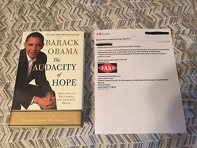 Barack Obama Signed Autographed The Audacity of Hope PB 1st Edition COA Included