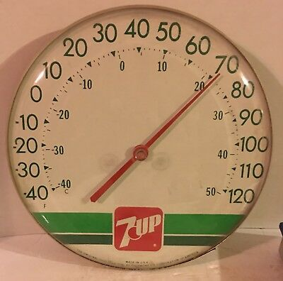 Vintage 7-up 7UP Soda Pop Round Advertising Hanging Thermometer Sign