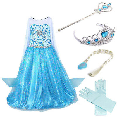Girls Frozen Princess Queen Elsa Costume Party Birthday Dress with Cape 3-10Yrs