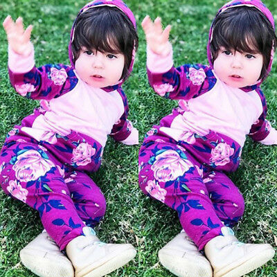 US Newborn Baby Girls Infant Clothes Autumn Winter Hooded Tops+Pants Set Outfits