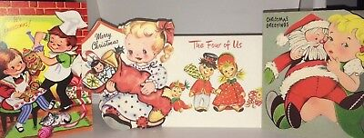 Cute Lot Of 4 Vintage Children's Christmas Greeting Cards!