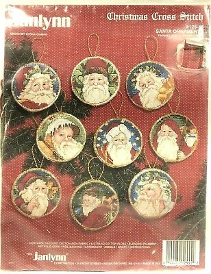 Janlynn SANTA ORNAMENTS Counted Cross Stitch Kit New 12555 Donna Giampi Set of 9