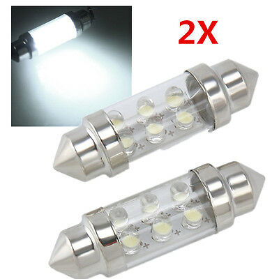 New 2pcs 12V 36mm 6LED Pure White Car Festoon Interior Dome C5W Light Lamp Bulb