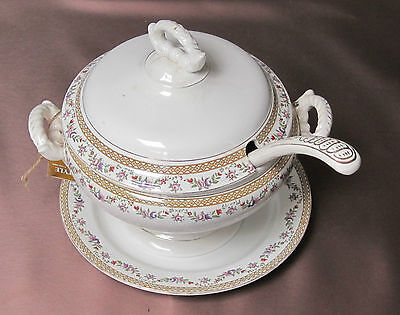 Boch & Fils Soup Terrine WITH LID, Plate and Ladle CIRCA 1900 from Belgium