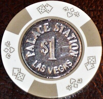 Old $1 PALACE STATION Casino Poker Chip Vintage Antique BJ Mold Las Vegas NV