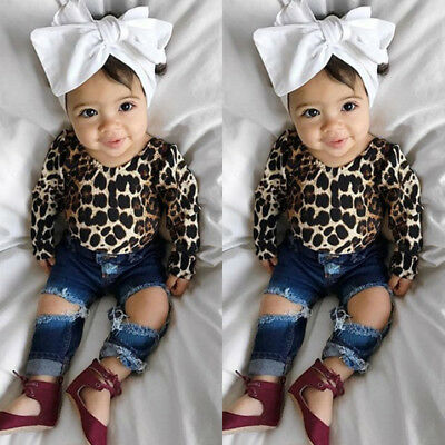 USA Toddler Baby Girls Clothes Shirt Tops Leopard Skirt+Hole Denim Pants Outfits