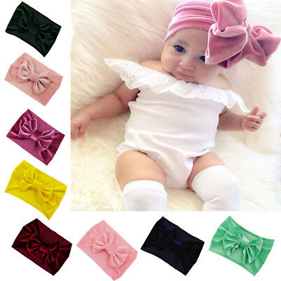 Baby Headband Cloth Elastic Headdress Kids Hair Band Newborn  Gold Velvet Bow UK